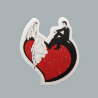 Tahtakale Toptancısı Sticker Gelin Damat Kalp Üstünde (50 Adet)