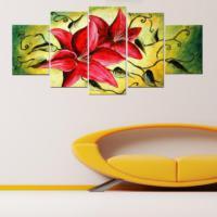 Tictac Design 5 Parçalı Kanvas Tablo Pembe Çiçekler