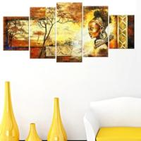 Tictac Design 5 Parçalı Kanvas Tablo Afrika