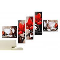 Tictac Design 5 Parçalı Kanvas Tablo Kırmızı Çiçekler