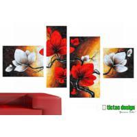 Tictac Design 4 Parçalı Kanvas Tablo Kırmızı Beyaz Çiçekler
