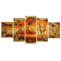 Tictac Design 5 Parçalı Kanvas Tablo Mısır Piramitler