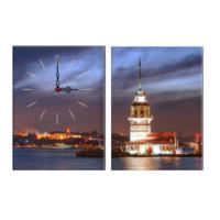 Decostil 2 Parçalı Kanvas Saat Kız Kulesi Işıklı