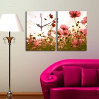 Decostil 2 Parçalı Kanvas Saat Pembe Çiçek Tarlası -4