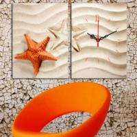 Decostil 2 Parçalı Kanvas Saat Deniz Yıldızları