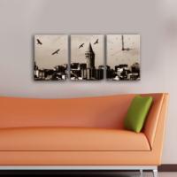 Decostil 3 Parçalı Kanvas Saat - Galata Kulesi Kuşlar