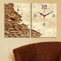 Decostil 2 Parçalı Kanvas Saat Eski Duvar