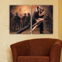 Decostil 2 Parçalı Kanvas Saat Dans Eden Çift Tango