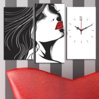 Decostil Çizim Kadın 3 Parça Kanvas Saat