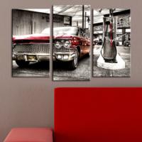 Decostil Klasik Otomobil 3 Parça Kanvas Saat