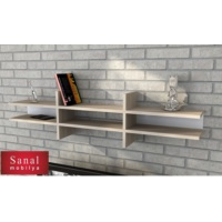 Sanal Mobilya Retro Kitaplık & Raf - Sonomo/Beyaz