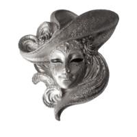Gold Dekor Şapkalı Gümüş Renk Maske