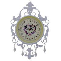 Gold Dekor Ferforje Sarkıt Taşlı Saat Beyaz 7278