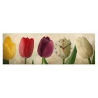 Mania Renkli Laleler 30x90 cm Kanvas Saat