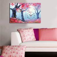 Mania Renkli Yapraklı Ağaçlar 45x70 cm Kanvas Saat