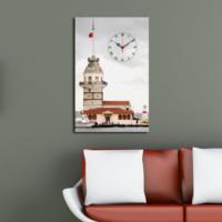 Mania Yakından Kız Kulesi 45x70 cm Kanvas Saat