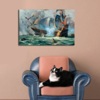 Mania Fırtına Ve Gemiler 45x70 cm Kanvas Saat