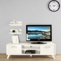 Ankara Mobilya 140 lık Beyaz 2 Raflı Tv Sehpası Parlak Beyaz