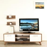 Ankara Mobilya 140 lık Ceviz Beyaz 2 Raflı Tv Sehpası Venezia Ceviz / Parlak Beyaz