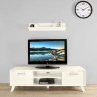 Ankara Mobilya 140 lık Beyaz Raflı Tv Sehpası Parlak Beyaz