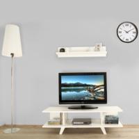 Ankara Mobilya 120 lik Kapaksız Beyaz Tv Sehpası Parlak Beyaz - Duvar Rafı Hediyeli !