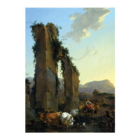 ARTİKEL Nicolaes Berchem - Peasants With Cattle by a Ruined Aqueduct 50x70 cm KS-1292