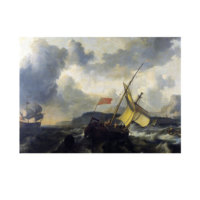 ARTİKEL Ludolf Backhuysen - An English Vessel and a Man of War in a Rough Sea 50x70 cm KS-1284