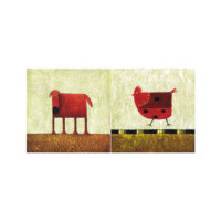 ARTİKEL Red Animals 2 Parça Kanvas Tablo 80x40 cm KS-626