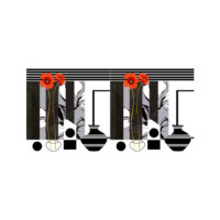 ARTİKEL Striped Vases 2 Parça Kanvas Tablo 80x40 cm KS-384