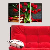 Decostil Kırmızı Laleler 3 Parça 81x50 Kanvas Tablo 133