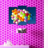 Özgül Grup Renkli Balonlar 3 Parça Asimetrik Kanvas Tablo 67