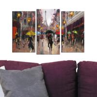Decostil Eyfel 3 Parça 81x50 Kanvas Tablo