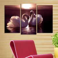 Decostil Kuğu 3 Parça 81x50 Kanvas Tablo