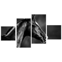 Tictac Design 4 Parça Kanvas Tablo Siyah At