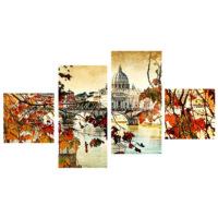 Tictac Design 4 Parça Kanvas Tablo Şehir