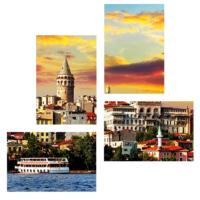 Tictac Design İstanbul Galata 4 Parça Kanvas Tablo 8