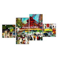 Tictac Design Cafe Mouln Rouge 4 Parça Kanvas Tablo 53
