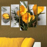 Dekorjinal Sarı Laleler 5 Parçalı Dekoratif Mdf Tablo -DEC009