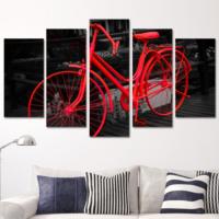 K Dekorasyon Kırmızı Bisiklet 5 Parçalı Mdf Tablo KM5P1625