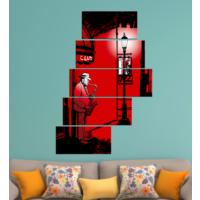 K Dekorasyon Saksafon Çalan Adam 5 Parçalı Merdiven Mdf Tablo 1215