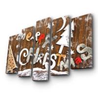 Özgül Grup 5 Parça Kanvas Tablo - Christmas