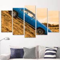 K Dekorasyon Mavi Klasik Araba 5 Parçalı Mdf Tablo KM5P1617