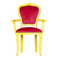 3A Mobilya Taçsız Kral Oymalı Sandalye - Sarı -Kırmızı