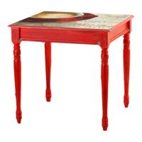 Kozza Home Bristol Masa 70x70 cm Kırmızı Hl/Cfus Kırmızı Eskitme