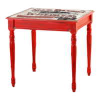 Kozza Home Bristol Masa 70x70 cm Kırmızı Hl/Jck Kırmızı Eskitme