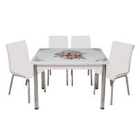 Kristal Masa Beyaz Monopetli 4 Sandalye ve Çiçek Sepeti Yandan Açılır Cam Masa