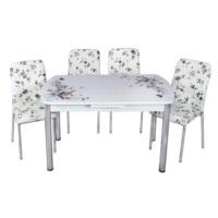 Mavi Mobilya Mutfak Cam Masa Takımı Otomatik Açılır Kahve Çiçek Desen (4 Suni Deri Sandalyeli)