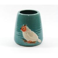 Desen Home Beyaz Baykuşlu Mavi Vazo Küçük
