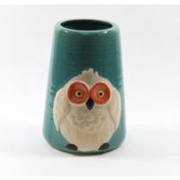 Desen Home Beyaz Baykuşlu Mavi Vazo Orta