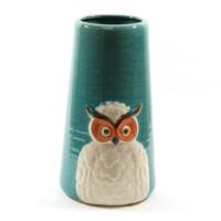 Desen Home Beyaz Baykuşlu Mavi Vazo Büyük